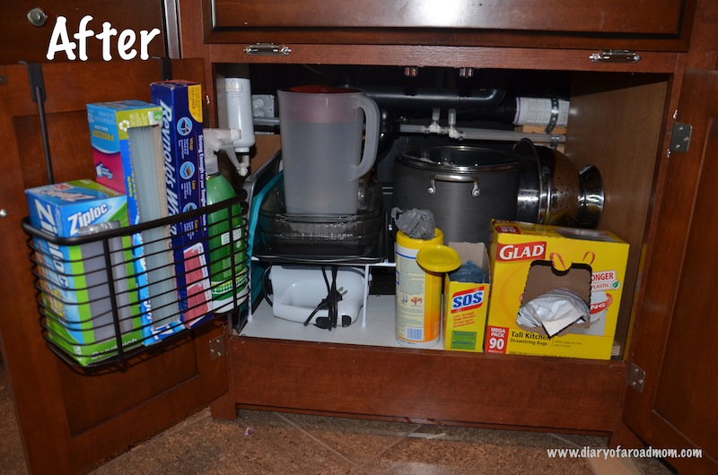 This is what the cabinet under my rv kitchen sink looks like now